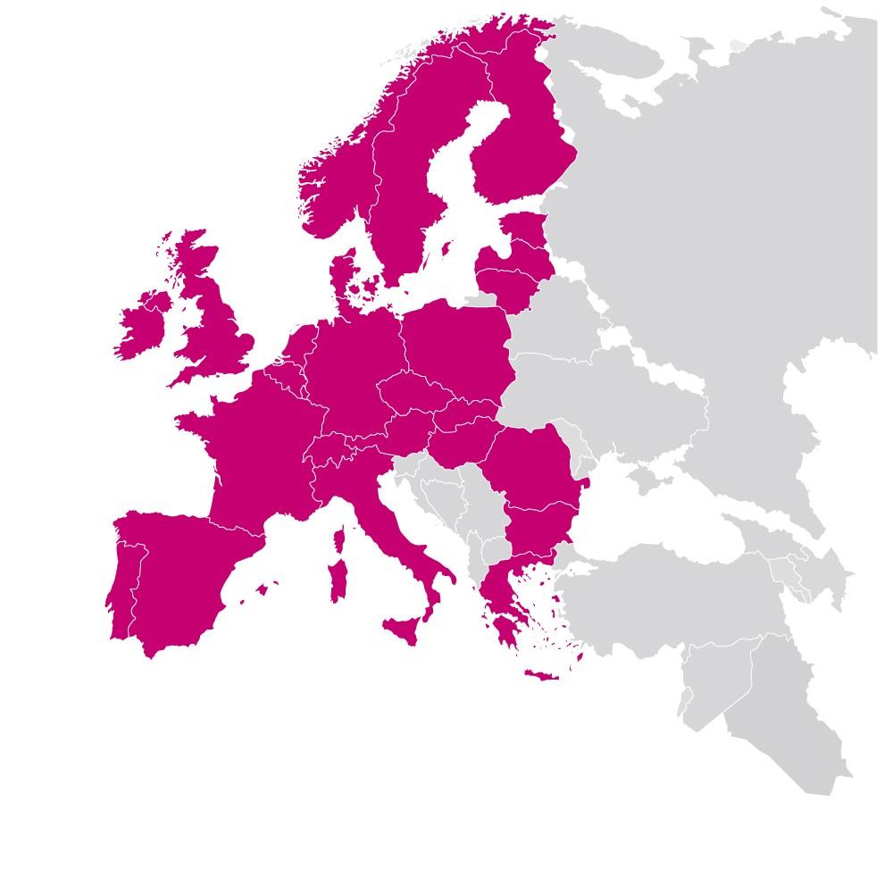 europa kaart roze